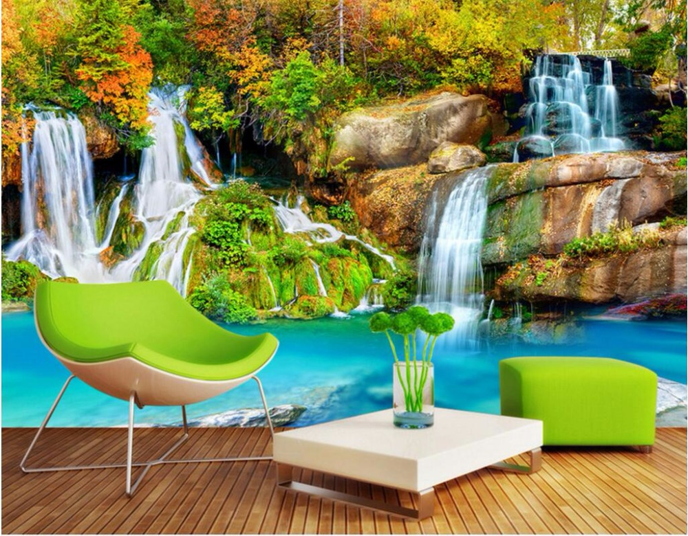 3d Wallpaper Custom Photo Mural Mountain Stream Decoration