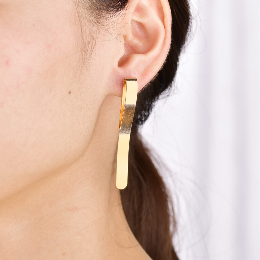 2018 Unique Design Punk Gold Metal Long Strip Stud Earrings For