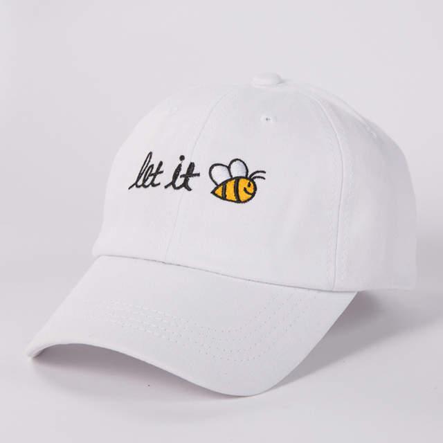 placeholder Bordir Topi Ayah Teks Biarkan Lebah Pria Wanita Musim Panas Topi  Baseball Snapback Keren Melengkung cf92bf946f