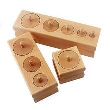 Enfants grande taille bois Montessori matériaux cylindre prise augmentant le Volume poids saisir exercice développement précoce Senseory jouets