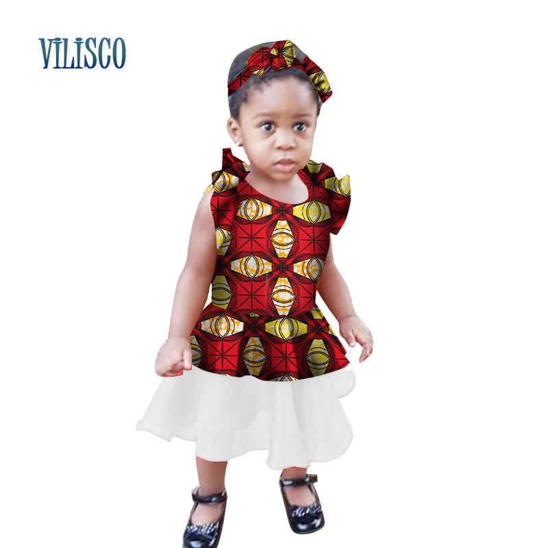 8af5cff68de9a4 ... African Print Dress for Kids Girls Bazin Riche Summer Custom Children  Clothing Traditional African Baby Children