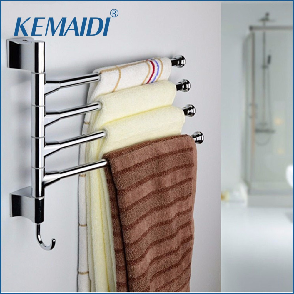 KEMAIDI New Stainless Steel Towel Bar Rotating Towel Rack Bathroom ...
