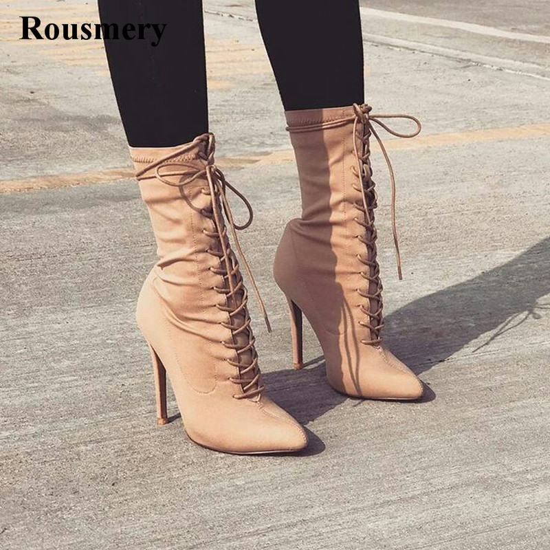 New Design Women Fashion Pointed Toe Nude Suede Lace-up Ankle Boots Thin Heel Ankle Wrap High Heel Short Boots Free Shipping new arrival black leather and suede ankle boots women pointed toe short boots wedges boots metal buckles decorated free shipping