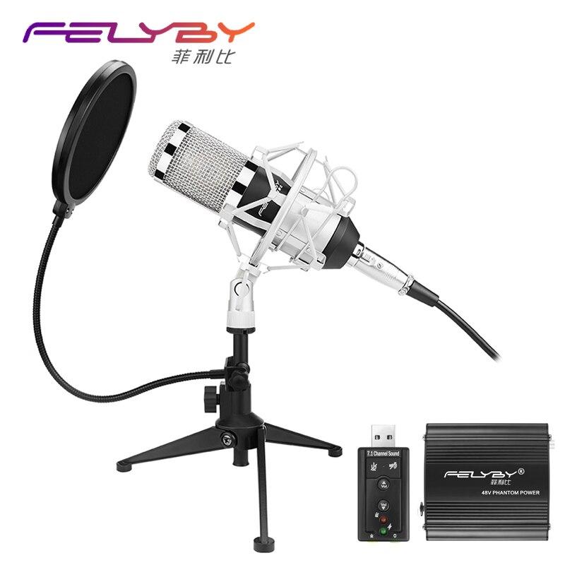 Atualizado Profissional PC/BM800 + Microfone Condensador de Estúdio de Gravação de Áudio Profissional KTV Microfone Microfone Tripé De Metal