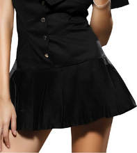 Women's Black Short Sleeve Policewoman Uniform Dress Sailor Suit Sexy Pub Party Outfit Cosplay Costumes