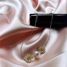 VEAMOR браслет из стерлингового серебра 925 пробы для женщин прекрасные украшения с ромашками натуральный пресноводный жемчуг шарм браслеты с подарочной коробкой