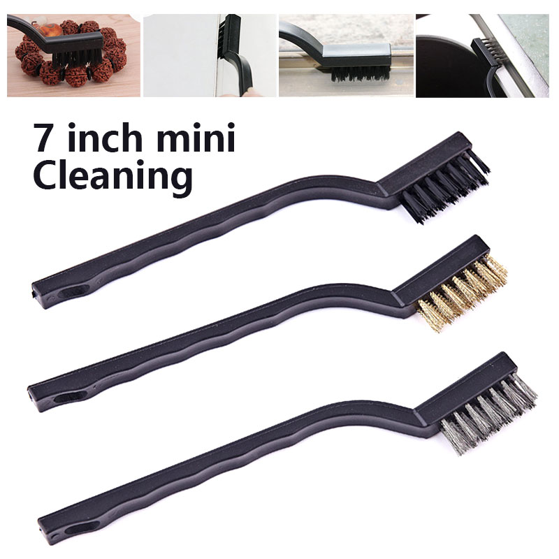 Steel Wire Brush DIY Home Cooking 7 Inches Rust Removal Cleaning Brush Camping Black Automotive Clean Cleaning Toothbrush bracelet