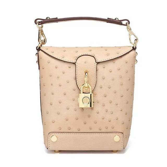 Exotic Ostrich Skin Leather Women's Small Bucket