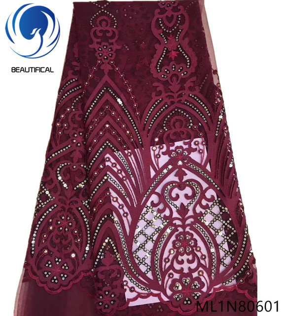 Beautifical wine red sequin lace african sequin lace fabric 2019 high quality lace for lady clothes embroidered fabric ML1N806