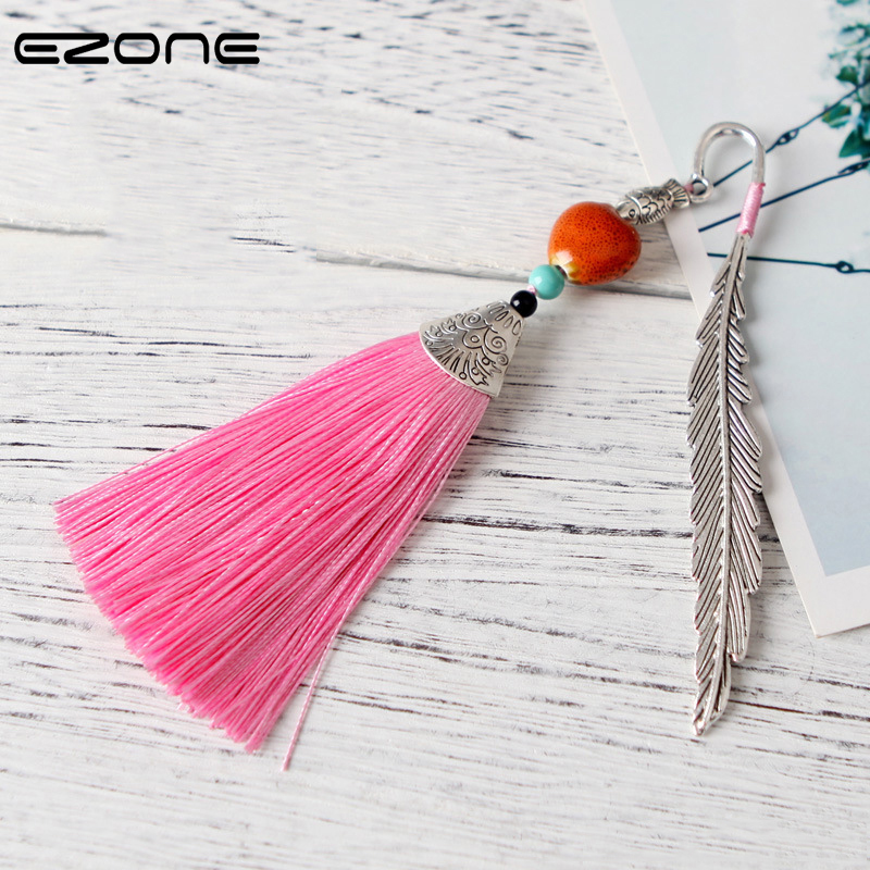 EZONE Chinese Style Book Design Of Feather With Tassel Shape Creative Vintage Folk-Custom Book Holder School Office Supplies