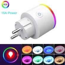 16A EU RGB wifi Smart Plug with Power Monitor, wifi wireless Smart Socket Outlet with Google Home Alexa Voice Control