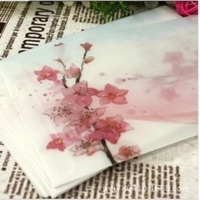 Peach Blossom Painting Artificial Parchment Paper Envelope Size For