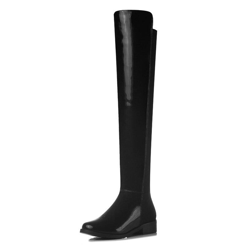 Online Get Cheap Thigh High Black Leather Flat Boots -Aliexpress