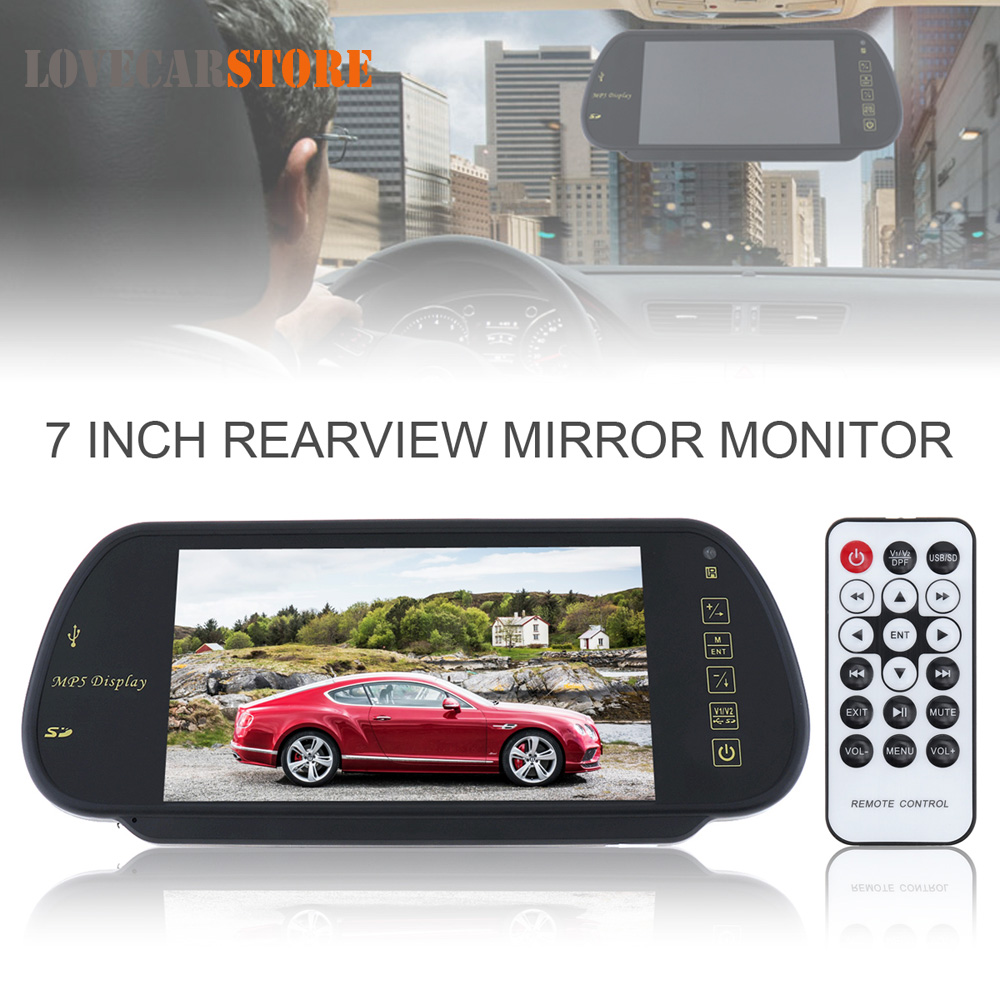 7 Inch Color TFT LCD Car Rear View Mirror Monitor Auto Vehicle Parking Backup Reverse Rearview