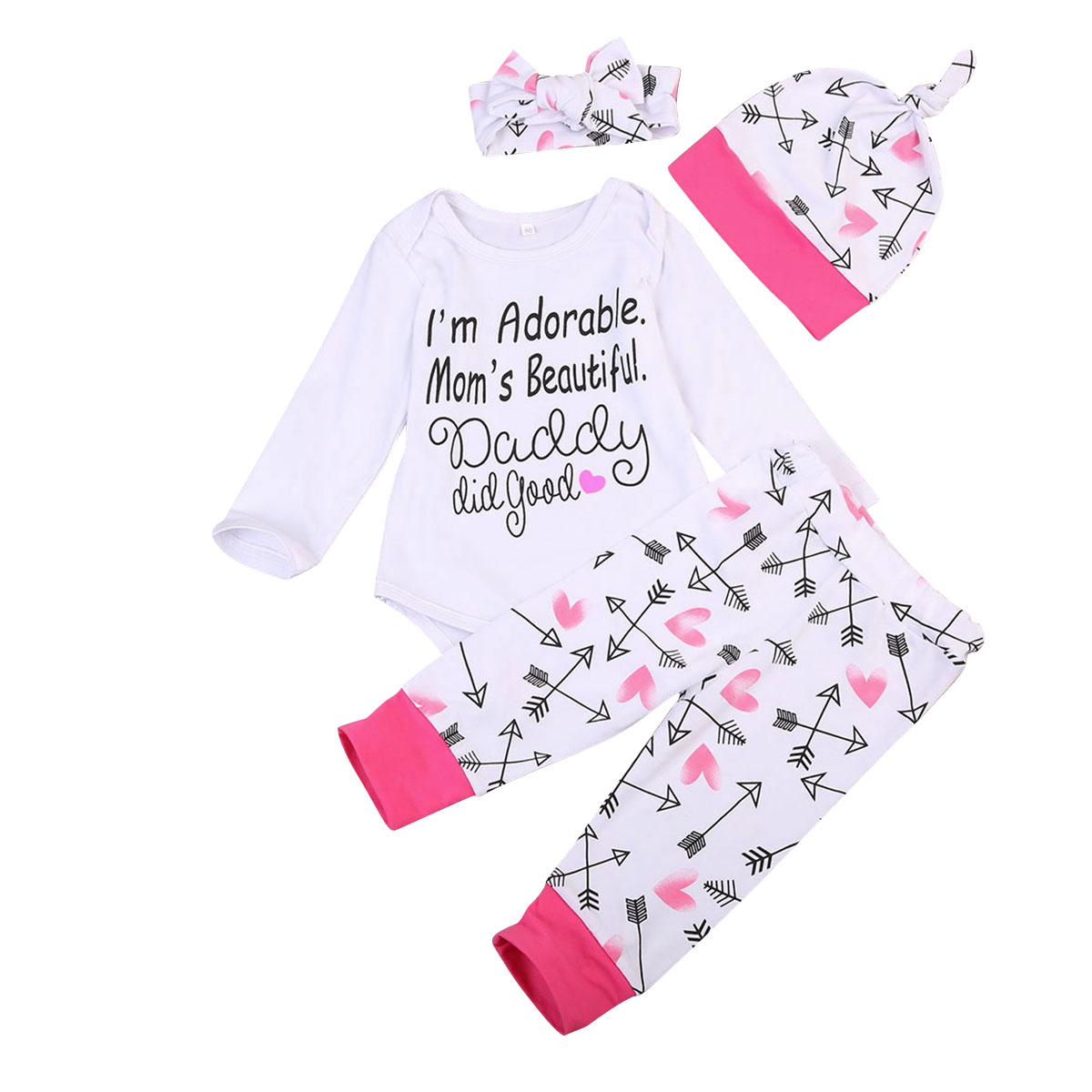 Active 4pcs Per Set Newborn Baby Girls Long Sleeve Romper Tops Pants Home Outfits Set Clothes