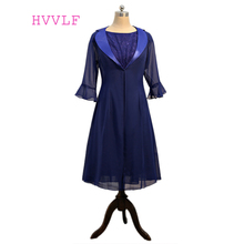 Navy Blue 2019 Mother Of The Bride Dresses A-line With Jacket Chiffon Lace Pluls Size Short Groom Mother Dresses For Weddings