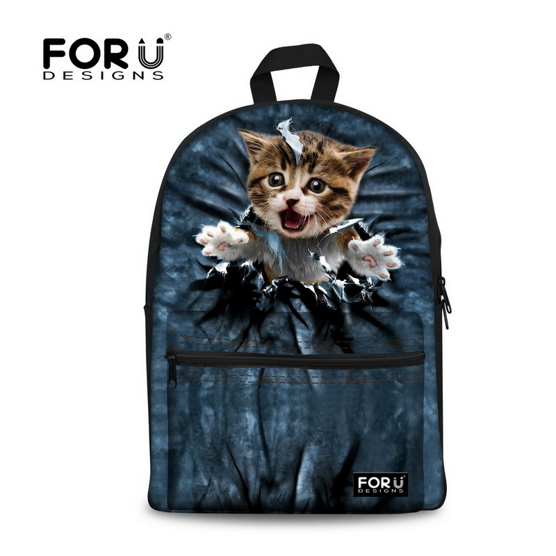 FORUDESIGNS Cute Women Backbag 3D Animal Backpacks Cat Printing School Bagpack for Girls Students Children's School fashion 3d animal dog cat printing women s laptops bagpacks large capacity teenager girls school backpacks women travel backbag