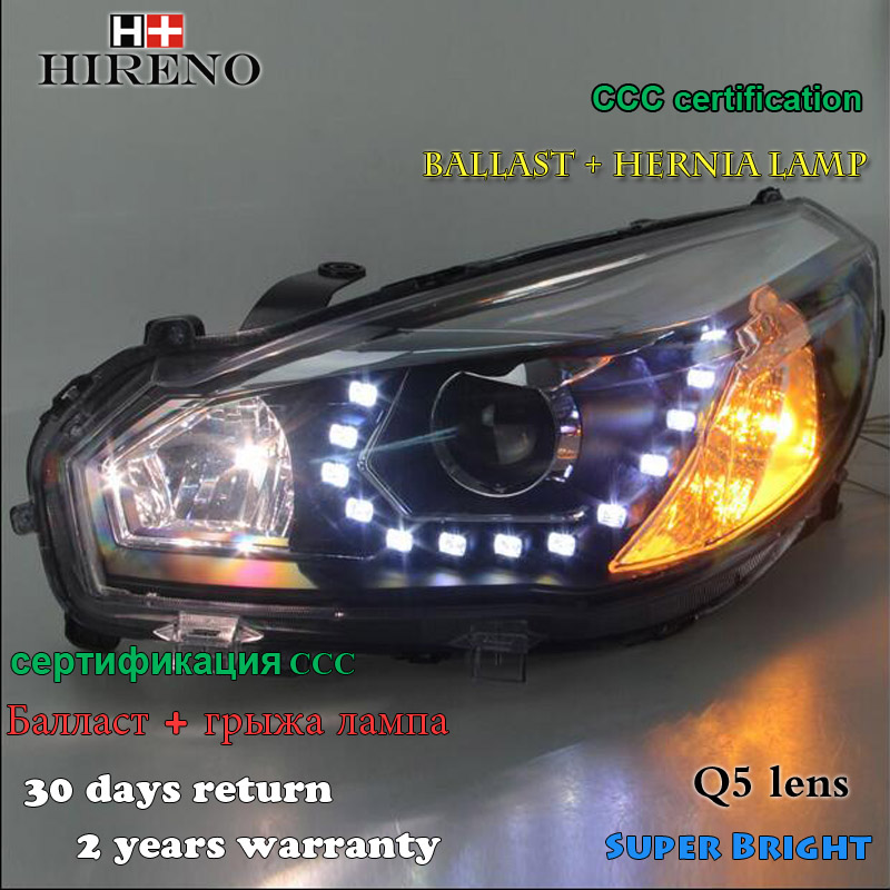 Hireno Headlamp for 2012-2013 Great Wall Hover M4 Headlight Assembly LED DRL Angel Lens Double Beam HID Xenon 2pcs 2pcs purple blue red green led demon eyes for bixenon projector lens hella5 q5 2 5inch and 3 0inch headlight angel devil demon