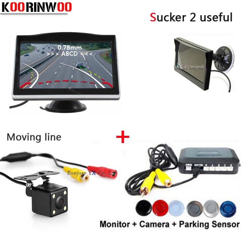 3in1 Dual Core CPU Auto Sensori di Parcheggio Con Movable Guida di Parcheggio telecamera di Retromarcia Radar con Monitor Auto parktronic Detector