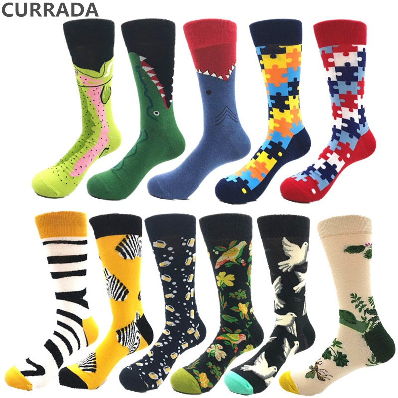 2018 New Colorful Mens Happy Socks Brand Quality Combed Cotton Compression Socks Autumn Winter Warm Funny Style Casual Men Sock