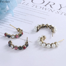 Vintage S925 Sterling Silver Pin Earrings Simulated Pearls Rhinestone Round Small Hoop Earring for Women Party Fashion Jewelry недорого