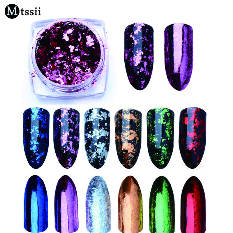 Mtssii 1BOX Aluminum Nail Flakes Sequins Powder Magic Mirror Glitters Gold Silver Red Colors Irregular Pigment Nail Decoration bellylady 6 pcs set mirror powder nails kit shinning mirror nail art chrome nail powder manicure pigment glitters with gift box