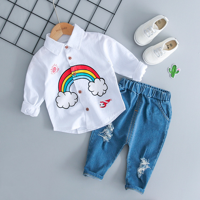 WENWENDEXINGFU Children Clothing Sets Autumn Baby Girl Boy Clothes Suits Rainbow Shirt Holes Jeans Infant Kid Clothes Suits