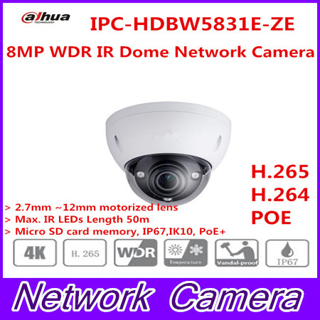 Free Shipping DAHUA CCTV IP Camera 8MP WDR IR Dome Network Camera with POE IP67 IK10 Without Logo IPC-HDBW5831R-ZE free shipping dahua ip camera cctv 6mp wdr ir eyeball network camera with poe ip67 without logo ipc hdw5631r ze