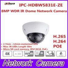 Free Shipping DAHUA CCTV IP Camera 8MP WDR IR Dome Network Camera with POE IP67 IK10 Without Logo IPC-HDBW5831R-ZE