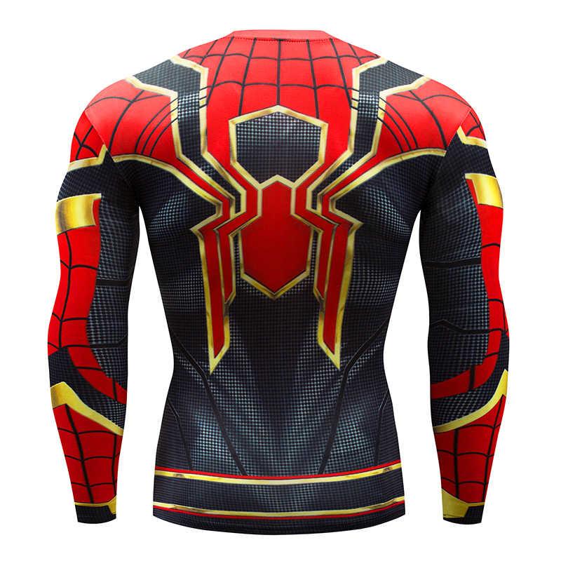 Pria Spider-Man T-shirt Pria Kompresi T-shirt Kebugaran Spider-Man T-shirt Binaraga Panas K Berlaku Merek