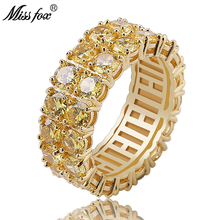 HOT!!! Hip Hop 2 Row AAA Yellow Cubic Zirconia Men Ring Trendy High Quality Prong Setting 18k Gold Luxury Sieraden