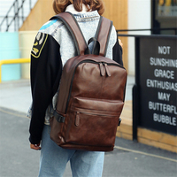 PU Leather Handbag Backpack Waterproof Solid Color Back Bag Campus Personality Simple travel computer PC bag For Women & Men