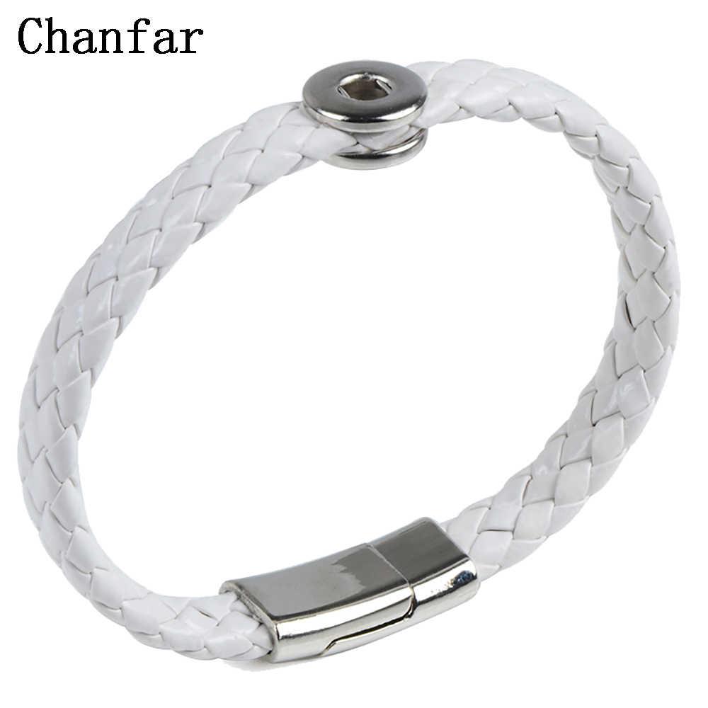 Chanfar Мода DIY браслет с защелкой для 12 мм кнопки Магнитный Застежка браслет для женщин и мужчин ювелирные изделия