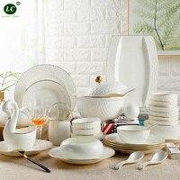 Посуда Наборы посуды Цзиндэчжэнь костяного фарфора рельефная посуда керамическая чаша 60 шт. Золотая посуда