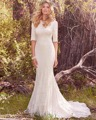 Dream Angel Elegant Half Sleeve Lace Mermaid Wedding Dress 2017 Scoop Neck Button Pleat Bridal Gown Robe De Mariage Plus Size