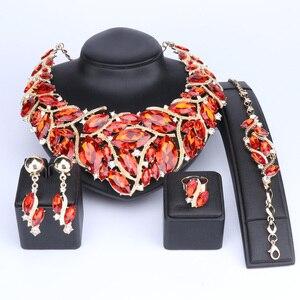 Image 5 - Ouheファッションインディアンジュエリーボヘミアクリスタルネックレスセットブライダルジュエリー花嫁パーティーウェディングアクセサリーデコレーション