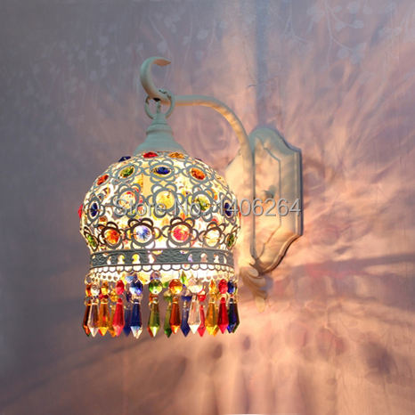 18CM  Bohemian Style White/Colour Romance Crystal LED Wall lamp For Cafe Bar Store Hall Club Coffee Shop Home Decor led wall lamp crystal led wall lamp wall lamp - title=