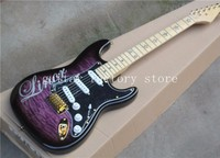 Custom Five pointed star inlay maple fingerboard dark purple body ST electric guitar with SSS pickups,golden hardware