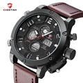 2016 Men Leather Strap Military Watch Multifunction Analog-Digital Dual Display Watches Men Top Brand Quartz Watch Reloj Hombre
