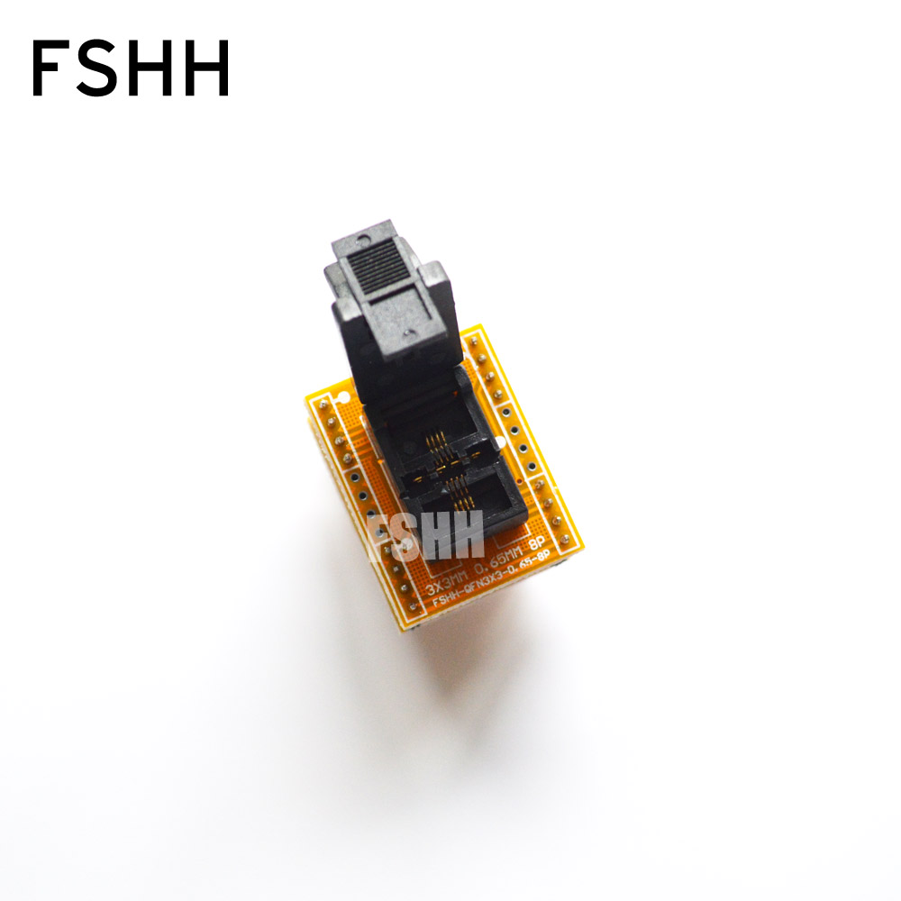 DFN8 WSON8 MLF8 socket QFN8 to DIP8 Programmer adapter DFN8 WSON8 MLF8 socket Pitch=0.65mm Size=3mmX3mm qfn8 to dip8 b qfn8 mlf8 mlp8 plastronics qfn ic programming adapter test burn in socket 8x6mm 1 3pitch free shipping