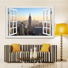 3D Window View Wall Sticker Sunset Landscape City Sticker Decal Vinyl Wallpaper Home Decor Living Room