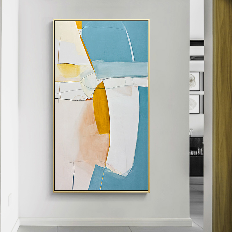 Abstract Azure Color Block Canvas Painting Posters And Print