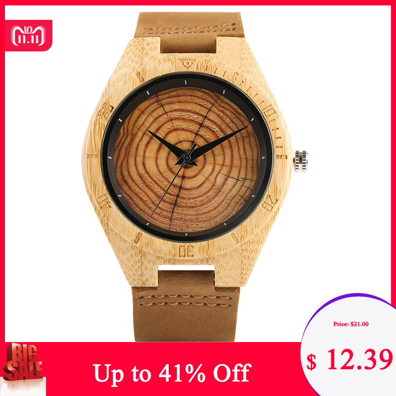 Trendy Stylish Hand-made Quartz Wooden Watches for Men Women Wood Grain Genuine Leather Wristband Clasp Wristwatch цена