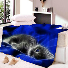 Cat Print Soft Throw Blanket Watercolor Dreamcatcher Sherpa for Couch Blue and Pink Travel