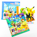 New Pokemon Go Pikachu Coloring Book with Stickers 10 Colored Pencils Painting Learning Kids Graffiti notebook School Stationery