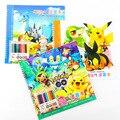Nova Pikachu Pokemon Ir Coloring Book com Adesivos 10 Lápis de cor Pintura Aprendizagem Crianças Graffiti Escola notebook Papelaria