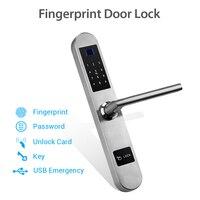 Bloqueo Digital biométrico de huellas dactilares sin llave cerradura de puerta inteligente Huella Digital + contraseña + tarjeta RFID + llave desbloqueo 4 formas|Cerradura eléctrica| |  -