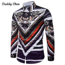 2018 New Arrival 3D Print Palace Men T-shirts Long Sleeve Men's Casual Shirt Slim Tops Tees M-3XL Fashion Man Social Dress Shirt