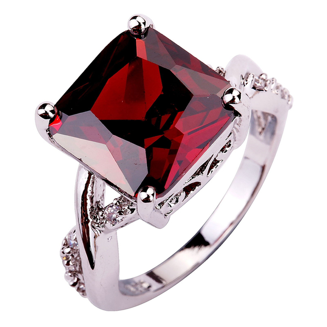 Factory Direct-Selling Crystal Jewelry Red Garnet Plated Silver Fashion Ring Siz