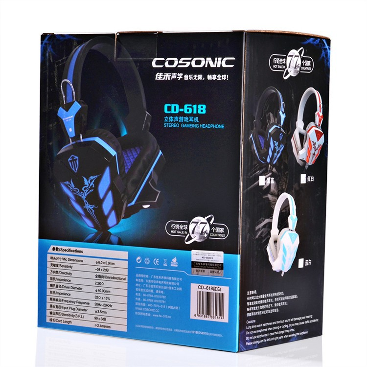 Cosonic CD-618 40mm Driver Unit Two-channel Stereo Gaming Headset Headphones with Volumn Control Mic LED Light for PC Computer (18)